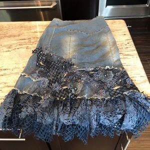 Long jean skirt with lace bottom